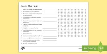 Coasts Clue Hunt KS4 Activity Sheet - coasts, erosion, sea, key, terms, gcse, worksheet
