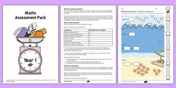 Year 1 Maths Assessment Pack Term 1 - assessment, pack, year 1, maths