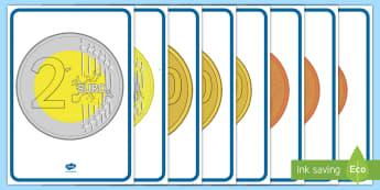 Gli euro in monete Poster - centesimi, decorazioni, colori, denaro, matematica, italian, italiano, materiale, scolastico
