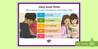 Social Media Think A4 Display Poster - CfE Digital Learning Week (15th May 2017) Digital learning and teaching strategy, social media, thin