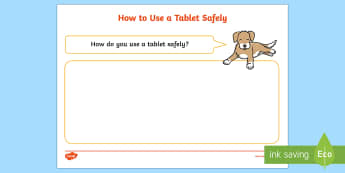 How To Use a Tablet Safely Activity Sheet - EYFS Safer Internet Day (6th February 2018), internet safety, cyberbullying, e-safety, e safety, cyb