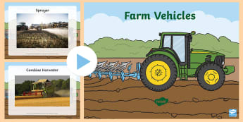 Farm Vehicles Photo PowerPoint - farms, animals, harvest, farm life, on the farm, vechiles, machinary, machinery, combine harvester,