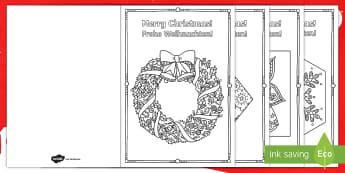 Mindfulness Colouring Christmas Cards - English/German - Xmas, Advent, December, gift, present, EAL, German, English-German,,German-translation