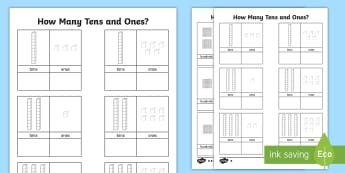 Tens and Ones Worksheet - count, counting aid, numeracy, maths, Place value, base 10, partitioning, tens, units, ones