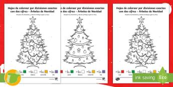 Hojas de colorear por divisiones exactas con dos cifras – Árboles de Navidad - Navidad, dividir, división, repartir, cifras, escrito, escrita, método, Spanish