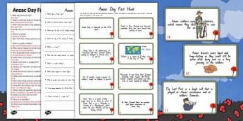 Anzac Fact Hunt - Anzac Day, facts, hunt, new zealand, fact hunt