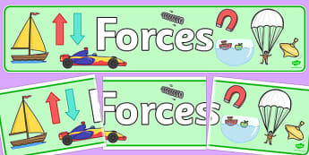 Forces Display Banner - Force, Movement, display, banner, sign, force, forces, gravity, push, pull, Magnet, friction, science, knowledge and understanding of the world