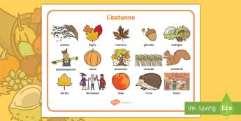 L'Autunno Vocabolario Illustrato - autunno, vocabolario, illustrato, autunnale, stagioni, italiano, italian, materiale, scolastico