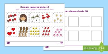 Recorta y ordena los números - Día de la Madre, Mother's day in Spain, recorta y pega, números, cut and glue, numbers, order the
