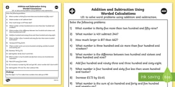 Addition and Subtraction Using Worded Calculations Year 3 - Add