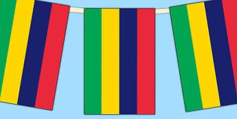 Mauritius Flag Display Bunting - countries, geography, display