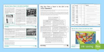 Why Was There a Boom in 1920's America? Activity Pack - GCSE, History, USA, Isolationism, Speculation, Wall St, stock market, consumerism, flappers, prohibi