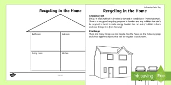 Recycling in the Home Activity Sheet - Amazing Fact Of The Day, activity sheets, powerpoint, starter, morning activity, February, recycling