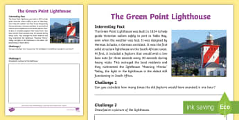 Green Point Lighthouse Activity Sheet - amazing fact, 3D model, historic buildings, sailors, sea, maths, foghorns, Moaning Minnie, Cape Town
