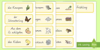 Frühling Wort- und Bildkarten - Frühling, Jahreszeiten, German