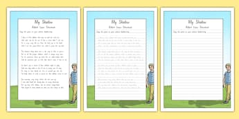 New Zealand My Shadow Poem Handwriting Practice Activity Sheets, worksheet