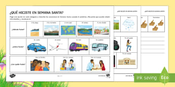 What Did You Do at Easter? Writing Activity Sheet Spanish - Spring, Easter, KS3, Spanish, holidays, past, tense, verbs, transport, places, activities, what, did