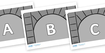 A-Z Alphabet on Crypts - A-Z, A4, display, Alphabet frieze, Display letters, Letter posters, A-Z letters, Alphabet flashcards