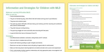 MLD Strategies and Information Adult Guidance - moderate learning difficulties, MLD, help, tips, senco