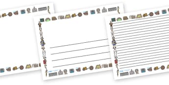 Ancient Romans Full Page Borders (Landscape) - page border, border, frame, writing frame, writing template, ancient roman page borders, ancient romans, romans, romans page borders, romans writing frames, the romans, writing aid, writing, A4 page, pag