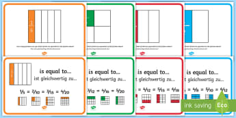 Equivalent Fractions Display Posters English/German - EAL, German, Year 2 Fractions Display Pack - fractions, display pack, year 2, frctions, frations, f