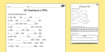Counting in 100s Activity Sheet - counting, 100, worksheet, sheet