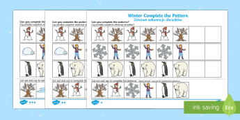 Winter Themed Complete the Pattern Activity Sheet Polish/English - Winter, Christmas, seasons, pattern, repeating pattern,Polish-translation