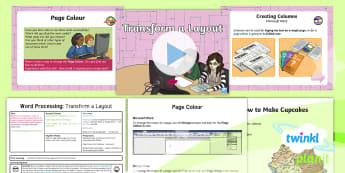Computing: Word Processing: Transform a Layout Year 4 Lesson Pack 5 - Columns, Page Size, Page Layout, Menu, Recipe, toolbar