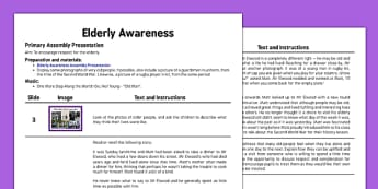 Elderly Awareness Assembly Script - elderly, awareness, assembly, script