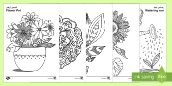 Plants and Growth Themed Mindfulness Colouring Sheets Arabic/English - plants and growth, mindfulness, colouring sheets, colour, sheet,mindfullness,minfulness,mindfullnes,