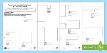 Year 4 Measure and Calculate the Perimeter of a Rectilinear Figure Differentiated Activity Sheets English/Romanian - Year 4, Y4, perimeter, rectilinear, square, rectangle, worksheet, activity sheet,Romanian-translatio
