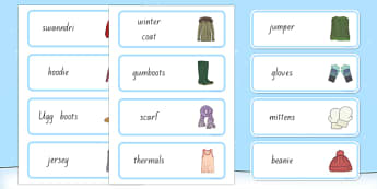 New Zealand Winter Clothes Word Cards