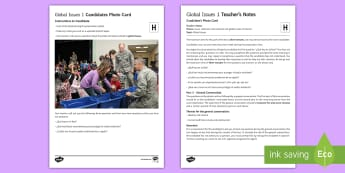 Global Issues 1 Higher Tier Photo Card Activity  - Spanish, speaking, practice, oral, photo, card, picture, illustration, practice, revision, skills, h