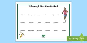 Edinburgh Marathon Festival Word Mat - CfE Edinburgh Marathon (27th of May), Edinburgh, marathon, scotland, scottish, events,Scottish