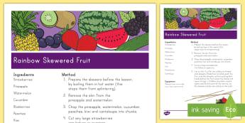 Rainbow Skewered Fruit Recipe Activity - recipe, fruit, kebabs, activities, healthy