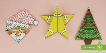 Simple 3D Christmas Origami Pack Paper Craft English/Portuguese - origami, paper craft, christmas, wet playtime, eal