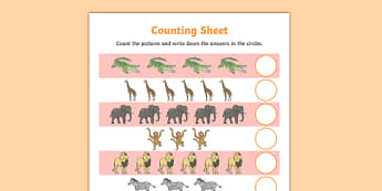 Safari Themed Counting Sheet - Selfish crocodile, crocodile, alligator, ks2, story book, animals, reptiles, ks2, ks1, eyfs, 1:1 correspondance