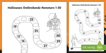Halloween Spookhuis Ontbrekende Nommers tot 30 Aktiwiteit bladsy - October, heks, wiskunde, gesyferdheid, skryf, pampoen