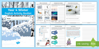 Year 4 Winter English Activity Booklet - holiday booklet, homework booklet, y4, spag, writing activity, reading activity, christmas holidays,