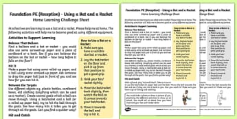 Foundation PE (Reception) - Using a Bat or a Racket Home Learning Challenge Sheet - EYFS, PE, Physical Development, Planning
