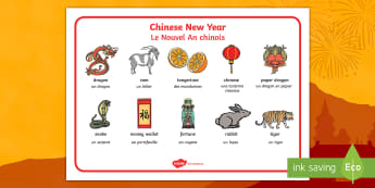 Chinese New Year Word Mat English/French - Chinese New Year Word Mat - Chinese new year, word mat, writing aid, topic words, China, lantern, dr