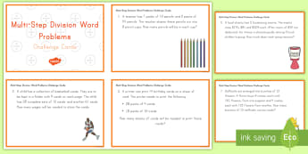Two-Step Division Word Problem Challenge Cards - word problems, division, challenge cards, math