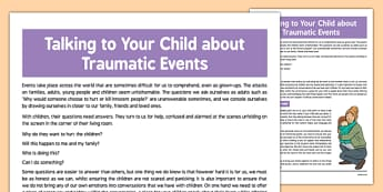 Talking to Your Child about Traumatic Events - talking, child, traumatic, events, terrorist, terrorism, extremism,