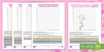LKS2 Valentine's Day Coordinates Activity Sheets English/Romanian - Heart, Rose, Cupid, Bow, February, 14th, Y3, Y4, worksheets, Romanian-translation