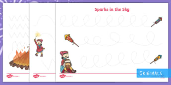 Sparks in the Sky Pencil Control Activity Sheets - Bonfire Night, fireworks, Guy Fawkes, writing, pencil control, KS1, EYFS, handwriting, finger fitnes