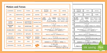 Edexcel Physics Topic 2 Motion and Forces Word Mat  - Word Mat, edexcel, gcse, physics, force, forces, motion, stationary, acceleration, velocity, speed,