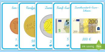 Euromünzen und scheine Poster für die Klassenraumgestaltung - Euro, Euros, Cent, Cents, Münzen, Scheine, Banknoten, ,German