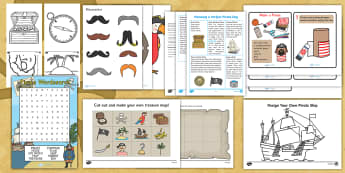 Pirate Theme Day Activity Pack - days in, home, family, holidays, peter pan, crafts, songs