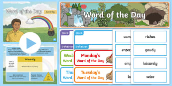 Year 4 Spring 1 Word of the Day Display Pack - sPaG, banner, vocabulary, spellings, nouns, adjectives, adverbs, verbs, multisyllabic words.