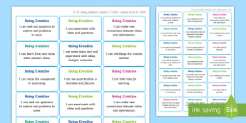 NI Thinking Skills and Personal Capabilities Being Creative Success Criteria Stickers - comments, targets, curriculum, marking, statements, Northern Ireland